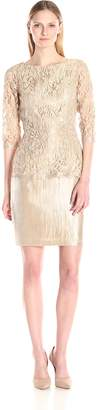 Adrianna Papell Women's 3/ Sleeve Lace Peplum Dress