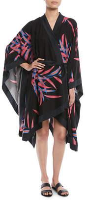 Diane von Furstenberg Printed Tie-Front Beach Kimono Coverup