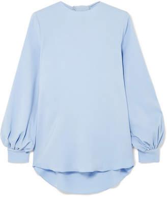 Oscar de la Renta Open-back Draped Silk-blend Top - Blue