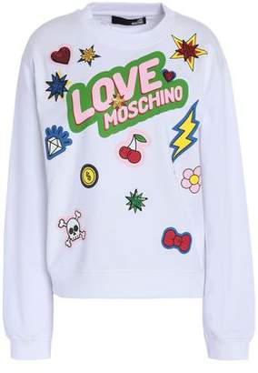 Love Moschino Appliqud Printed French Cotton-Blend Terry Sweatshirt