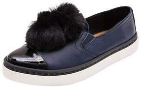 Andre Assous DNA Gored Slip-On Sneaker w/ Faux-Fur Pompoms