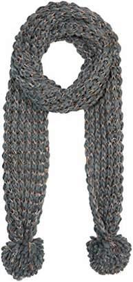 Under Zero Women's Grey Knitted Scarf With Pompom Ball