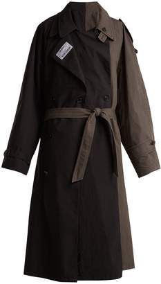 Contrasting colour double trench coat