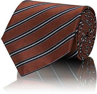 Brioni Men's Diagonal-Stripe Silk Satin Necktie - Orange