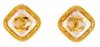 Chanel Faux Pearl Logo Clip-On Earrings
