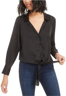 Bar III Button-Front Tie-Waist Blouse