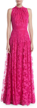 Escada Sleeveless Halter Ruffle-Neck A-Line Lace Evening Gown
