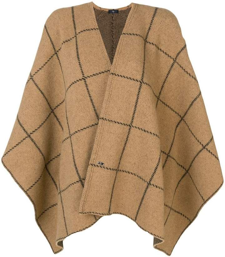 loose check pattern cape