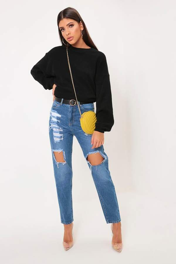 Isawitfirst Mid Wash Ripped Thigh High Rise Mom Jean