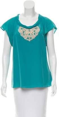 Tibi Bead-Embellished Silk Top