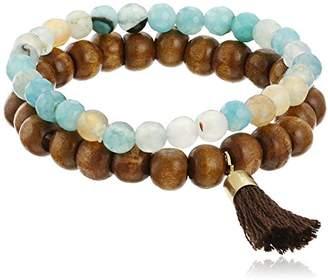 Panacea Stone and Wood Bead Stretch Bracelet