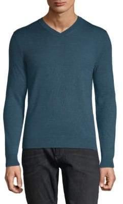 Saks Fifth Avenue V-Neck Melange Merino Wool Sweater