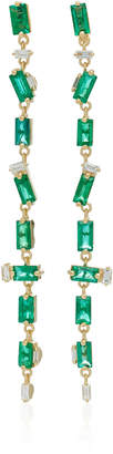 Suzanne Kalan 18K Gold Emerald And Diamond Earrings