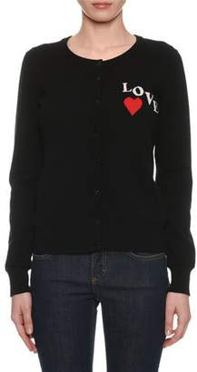 Dolce & Gabbana Crewneck Button-Front Long-Sleeve Cashmere Cardigan w/ Love Patch
