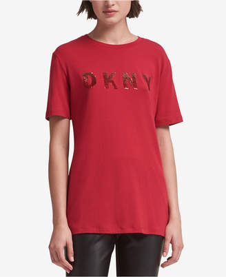 DKNY Cotton Sequined Logo T-Shirt