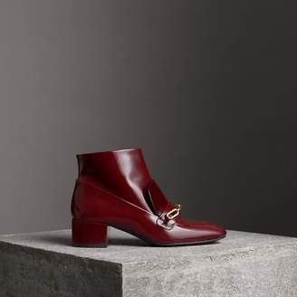 Burberry Link Detail Patent Leather Ankle Boots , Size: 38, Red
