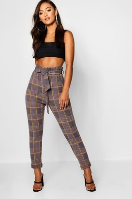 boohoo Petite Dogtooth Check Belted Trouser