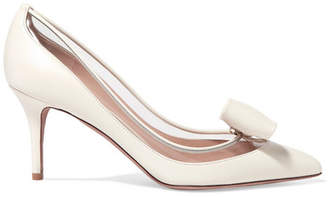 Valentino Glassglow Pvc-trimmed Leather Pumps - Ivory
