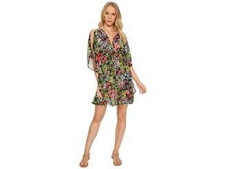 Bleu Rod Beattie Magic Garden Cold Shoulder Caftan Cover-Up Women's Swimwear