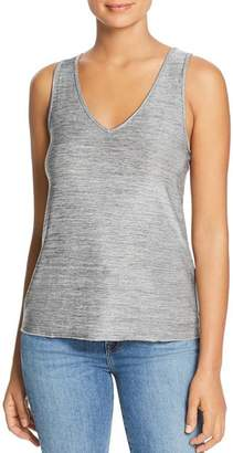 Three Dots Heathered Metallic V-Neck Tank