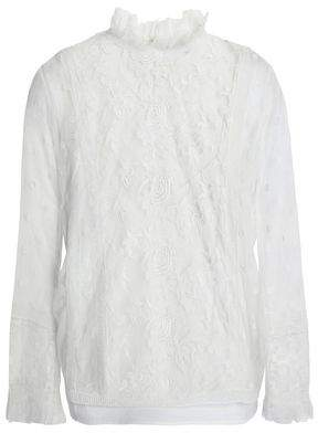 Joie Ruffled Embroidered Tulle Blouse