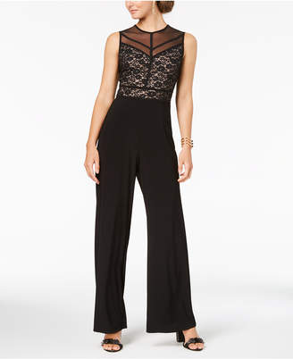 9ed23210284 at Macy s · Night Way Nightway Embellished Lace Contrast Jumpsuit