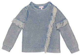 Design History Girl's Denim Colored Fringe Sweater, Size 2-6X