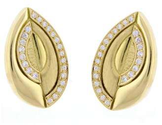 Estate Burle Marx 18K Yellow Gold with Diamond Earrings