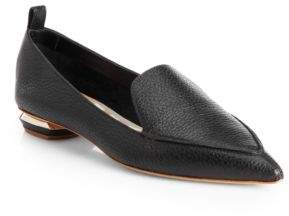 Nicholas Kirkwood Beya Pebbled Leather Point Toe Loafers