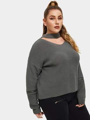 Shein Plus V Cut Chock Neck Zipper Sleeve Sweater