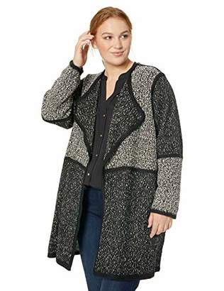 Calvin Klein Women's Plus Size Colorblock Piped Long Cardigan