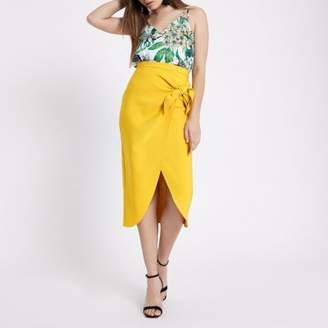River Island Womens Dark yellow tie front pencil skirt