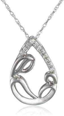 10kt White Gold Diamond Mother and Child Pendant Necklace