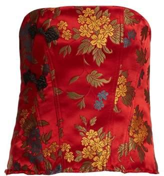 Marques Almeida Marques'almeida - Floral Brocade Satin Bodice - Womens - Red
