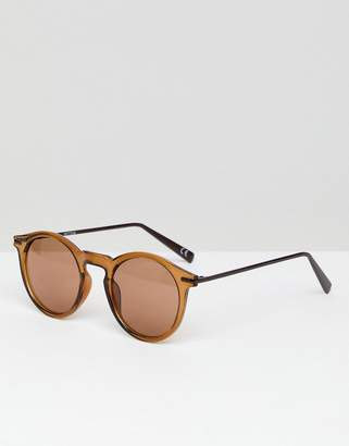 Asos DESIGN Round Sunglasses With Metal Arms in Brown