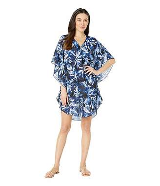 Maxine Of Hollywood Swimwear Printed in the Navy Chiffon Caftan Cover-Up