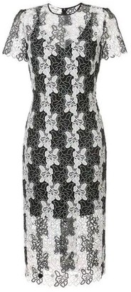 Diane von Furstenberg Fitted Lace Dress - Black White / US 12 - UK 16