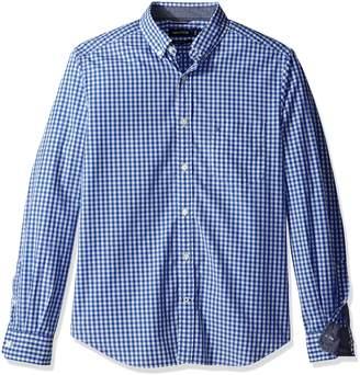 Nautica Men's Long Sleeve Poplin Classic Fit Gingham Shirt, Red