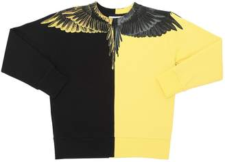 Marcelo Burlon County of Milan Two Tone Wings Print Cotton Sweatshirt