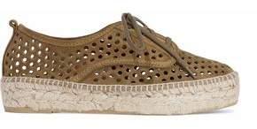 Loeffler Randall Laser-Cut Suede Platform Espadrille Sneakers