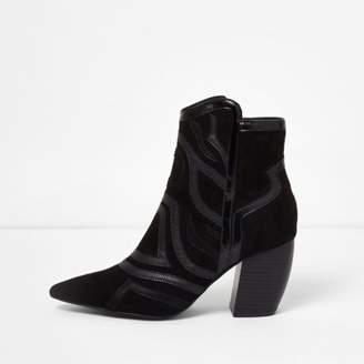 River Island Black cutabout western heel ankle boots