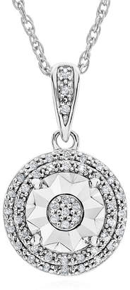 FINE JEWELRY LIMITED TIME SPECIAL! 1/10 CT. T.W. Double Halo Diamond Pendant Necklace in Sterling Silver