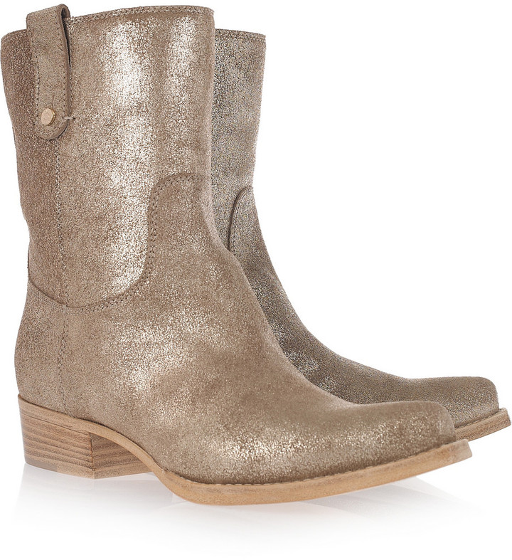 Jimmy Choo Border metallic textured-leather cowboy boots