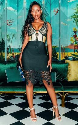 PrettyLittleThing Black Bandage Crochet Lace Up Midi Dress