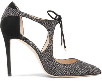 Jimmy Choo Vanessa 100 Cutout Textured-leather And Suede Pumps - Gray
