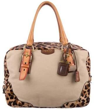 Prada Leather-Trimmed Ponyhair Shoulder Bag