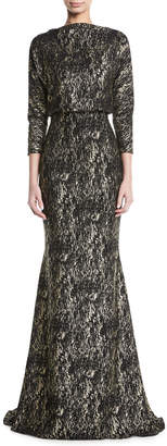 Badgley Mischka Foiled Long-Sleeve Gown w/ Blouson Bodice