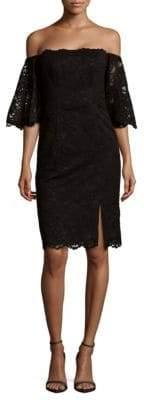 Nicole Miller Off-The-Shoulder Lace Dress