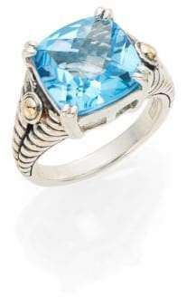 Effy Blue Topaz, Sterling Silver & 18K Yellow Gold Square Ring