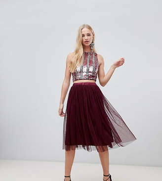 Lace & Beads tulle midi skirt in berry